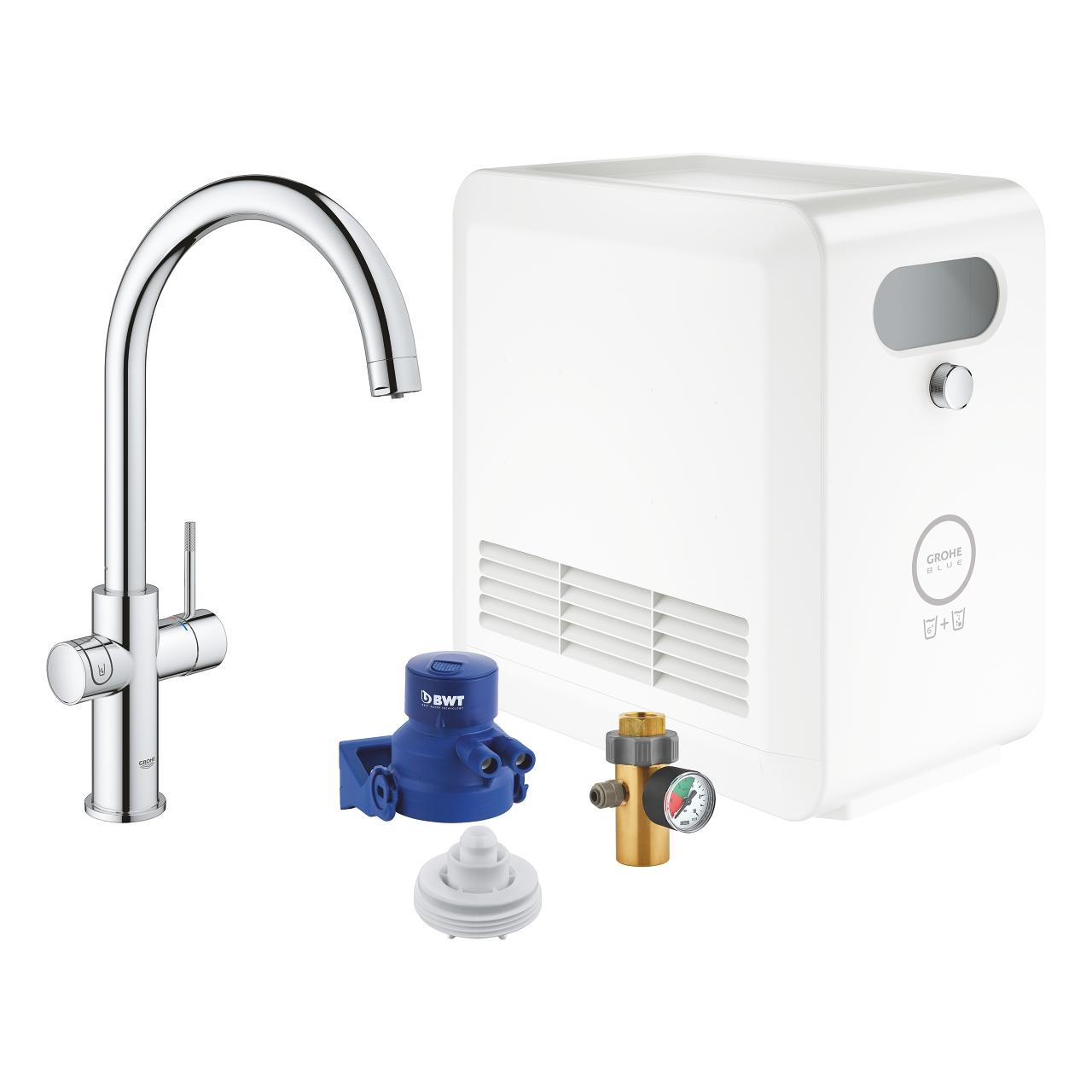 GROHE Кухненски комплект за филтрирана, газирана и изстудена вода BLUE PROFESSIONAL с C-чучур 31323002