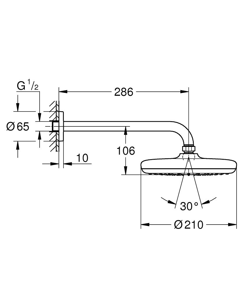 GROHE комплект душ глава 286 MM TEMPESTA 210 - 26412000