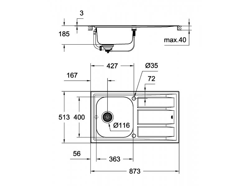 GROHE Мивка от неръждаема стомана с отцедник (плот) и 1 корито К400+ 31568SD0