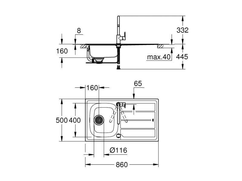 GROHE Комплект кухненска мивка K200 и смесител BAU EDGE 31562SD0