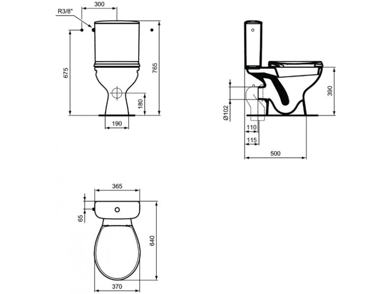 VIDIMA Моноблок ULYSSE с хоризонтално оттичане W835401 (ПРОМО)