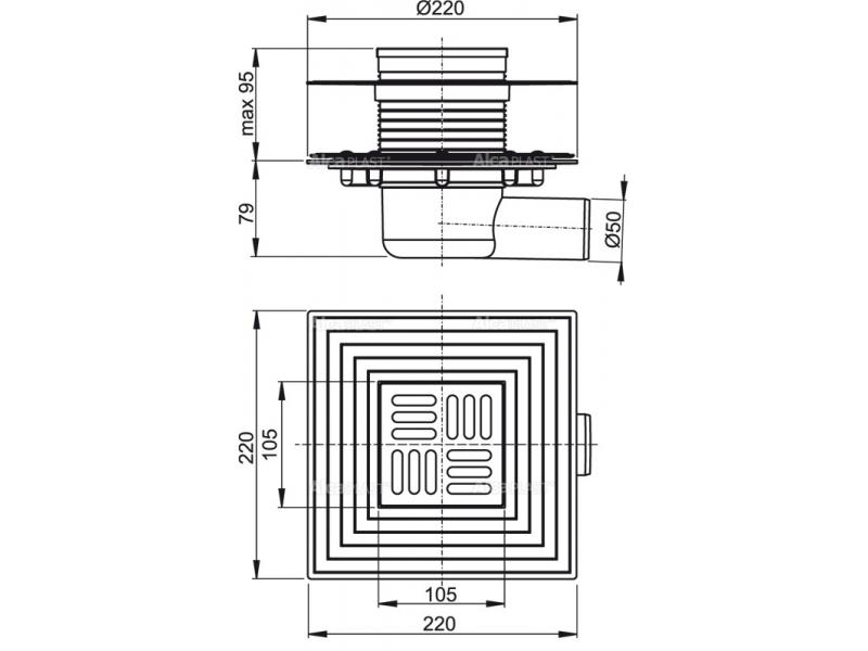 AlcaPLAST подов сифон със странично оттичане Ф50 APV1324 комбиниран с 2 яки