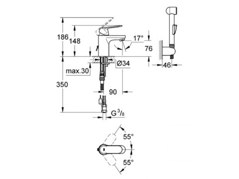 GROHE Смесител за умивалник S - размер EUROSMART COSMOPOLITAN 23125000