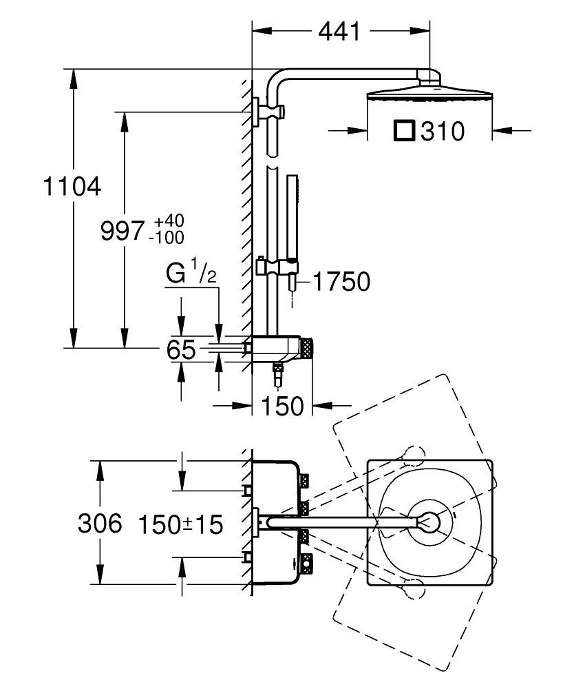 GROHE Душ система с термостат цвят MOON WHITE EUPHORIA SMARTCONTROL SYSTEM 310 CUBE 26508LS0