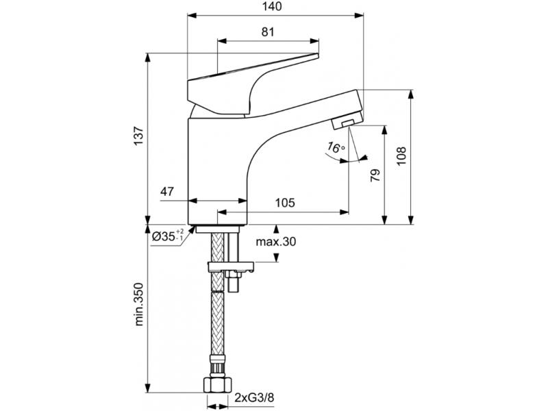VIDIMA Смесител стоящ за умивалник без изпразнител СЕВА НЕКСТ B1922AA