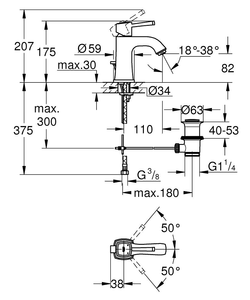 GROHE Смесител за умивалник 1/2″, едноръкохватков, M-размер GRANDERA 23303000
