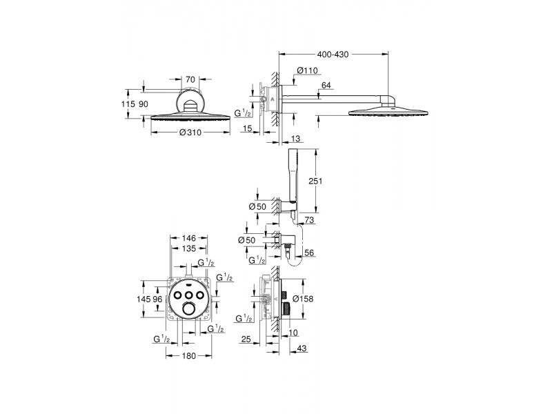 GROHE Комплект душ гарнитура с RAINSHOWER 310 SMARTACTIVE GROHTHERM SMARTCONTROL 34705000