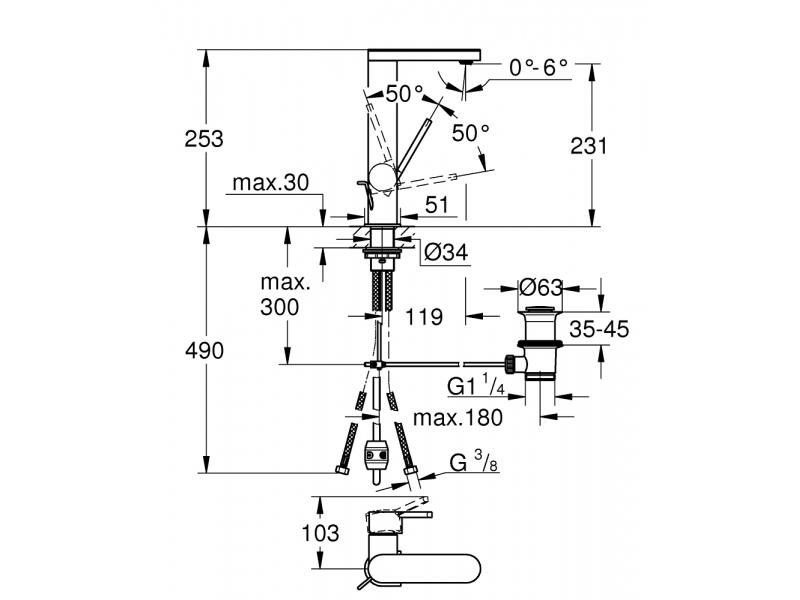 GROHE Смесител за умивалник с издърпващ чучур L-размер GROHE PLUS 23843003