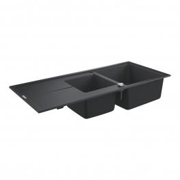 GROHE Кухненска мивка композитна за вграждане с 2 корита и плот черен гранит К400 31643AP0