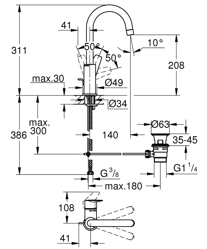 GROHE Смесител за умивалник 1/2″, едноръкохватков, L-РАЗМЕР BAUEDGE 23760001