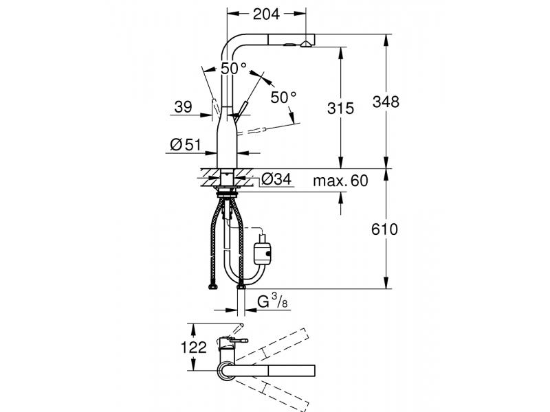 GROHE Кухненски смесител с L-чучур издърпващ се с 2 функции 360° завъртане ESSENCE 30270000