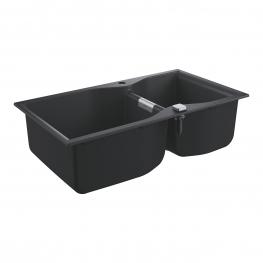 GROHE Кухненска мивка композитна с 2 корита и автоматичен сифон черен гранит K700 31658AP0