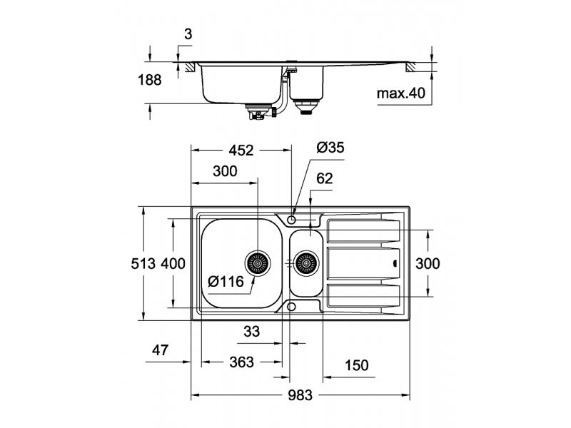 GROHE Мивка от неръждаема стомана с отцедник (плот) и 1,5 корита К400+ 31569SD0