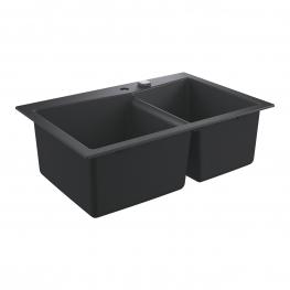 GROHE кухненска мивка композитна с 2 корита и автоматичен сифон черен гранит K700 31657AP0