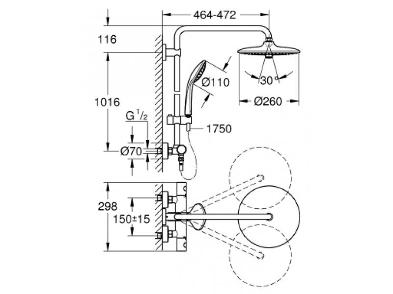 GROHE Душ система с термостат EUPHORIA SYSTEM 260 27296002