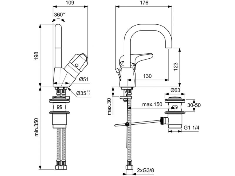 VIDIMA Смесител стоящ за умивалник с висок тръбен чучур с изпразнител СЕВА НЕКСТ B1928AA