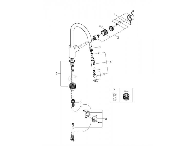 GROHE Кухненски смесител с издърпващ се чучур (висок) EUROSMART COSMOPOLITAN 31481001