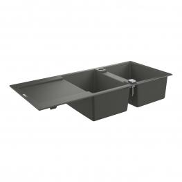 GROHE Кухненска мивка композитна 2 корита и отцедник (плот) сив гранит К400 31647AT0