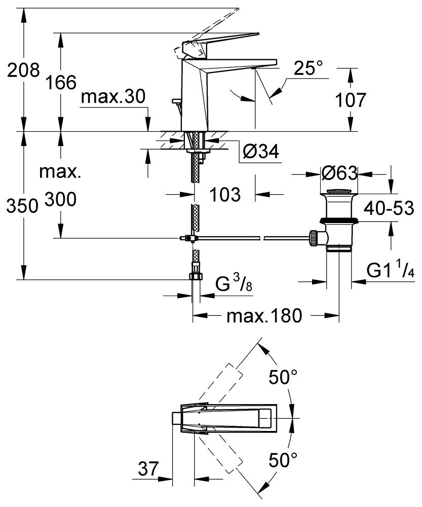 GROHE Смесител за умивалник 1/2″, едноръкохватков, M-размер Allure Brilliant 23029000