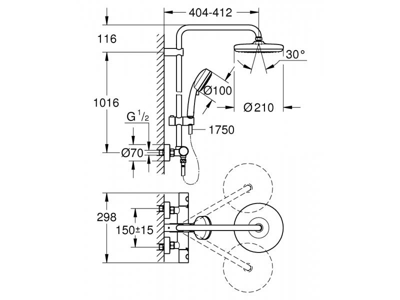 GROHE Душ система с термостат и въртящо се рамо NEW TEMPESTA COSMPOLOTIAN 210 27922001