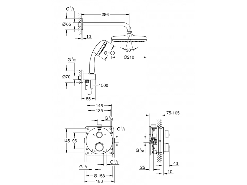 GROHE Комплект душ гарнитура за вграждане RAINSHOWER SmartConnect 34727000
