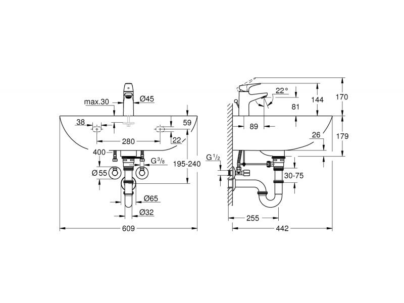 GROHE Комплект умивалник и смесител BAU CERAMIC, BAUFLOW S-рамер 39644000